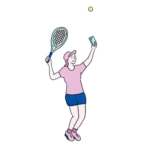 The U マンガ テニス セルフィー